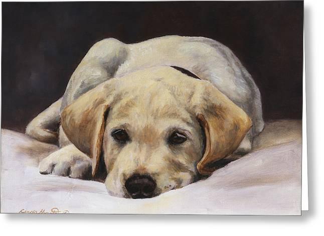 Yellow Dog Greeting Cards - Best Behaviour Greeting Card by Linda Shantz