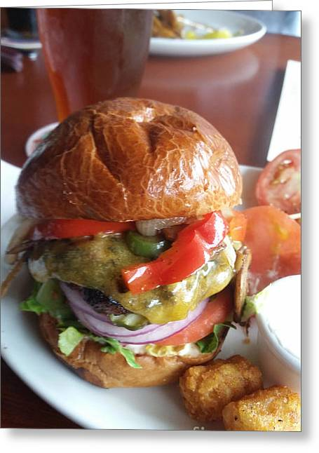 Brew Pub Greeting Cards - The Worlds Best Burger and Beer Greeting Card by Carol  Eliassen