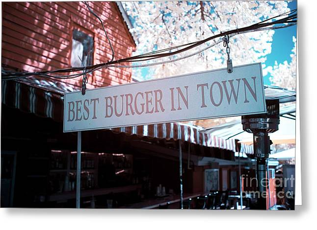 Hamburger Greeting Cards - Best Burger in Town Greeting Card by John Rizzuto