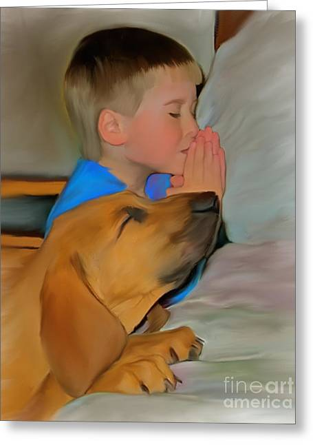 Boy Praying Greeting Cards - Best Friend Prayers Greeting Card by Susan Blanton
