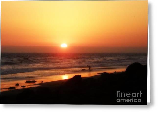 California Beach Greeting Cards - Best Friends at the Beach Greeting Card by Leah McPhail