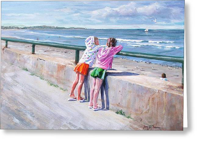 Sea Wall Greeting Cards - Best Friends Greeting Card by Laura Lee Zanghetti
