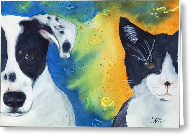 Best Pet Art Greeting Cards - Best Friends Greeting Card by Marie Stone Van Vuuren