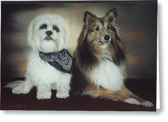 Photorealism Pastels Greeting Cards - Best Friends Greeting Card by Nanybel Salazar