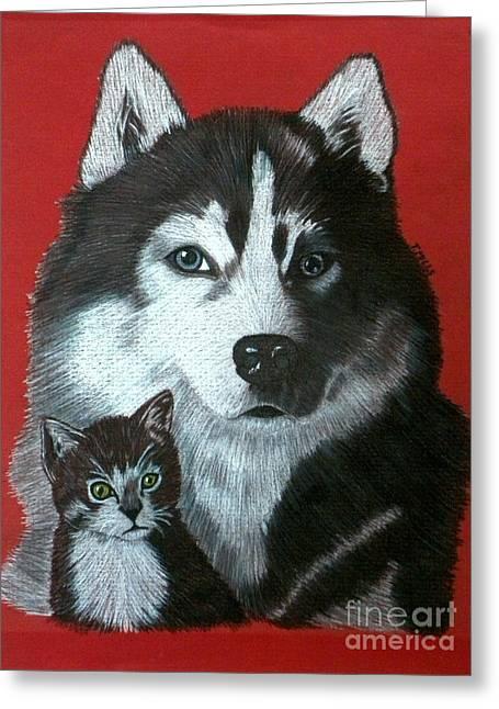 Huskies Drawings Greeting Cards - Best Friends Greeting Card by Terri Mills