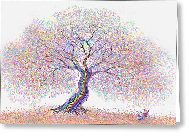 Puppy Digital Greeting Cards - Best Friends Under the Rainbow Tree of Dreams Greeting Card by Nick Gustafson