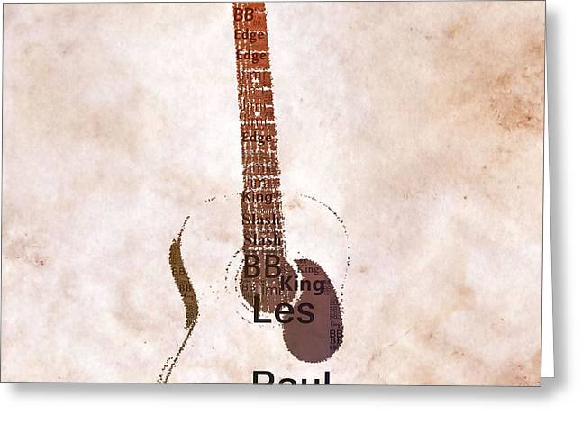 Best Guitarists Typography Warm Greeting Card by Dan Sproul
