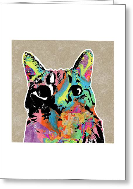 Tabby Greeting Card featuring the mixed media Best Listener Kitty- Pop Art By Linda Woods by Linda Woods