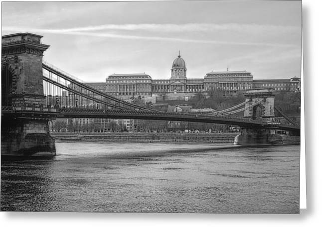 Best View Of Buda Castle Bw Greeting Card by Joan Carroll
