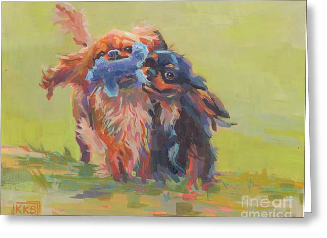 Puppies Paintings Greeting Cards - Besties Greeting Card by Kimberly Santini