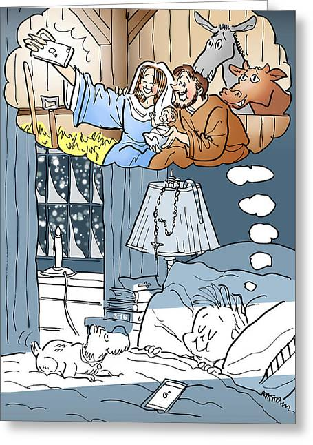 Bethlehem Selfie Greeting Card by Mark Armstrong
