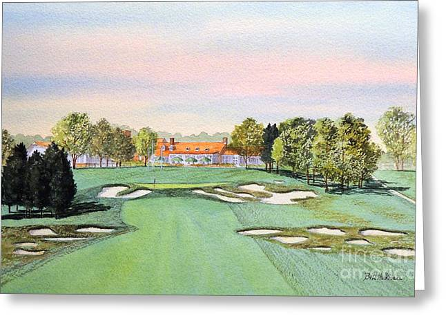 Us Open Golf Greeting Cards - Bethpage State Park Golf Course 18th Hole Greeting Card by Bill Holkham