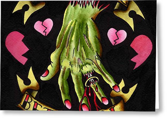 Tattoo Flash Paintings Greeting Cards - Betrayal Greeting Card by Kev G