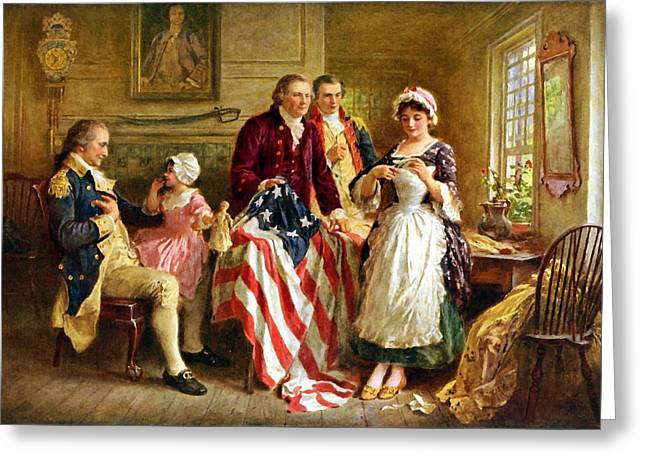 Politicians Paintings Greeting Cards - Betsy Ross and General George Washington Greeting Card by War Is Hell Store
