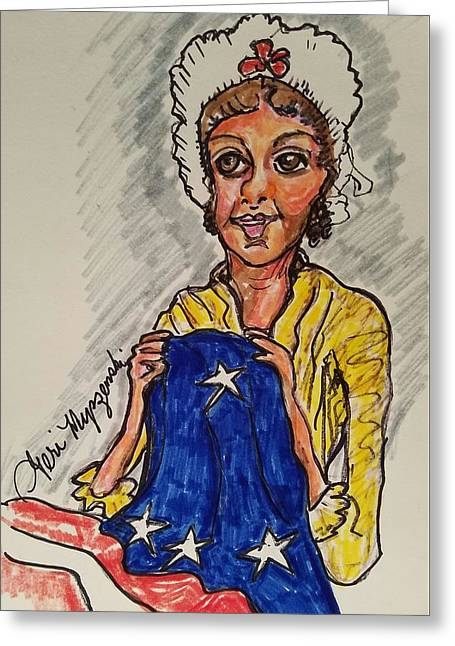 Betsy Ross Greeting Card by Geraldine Myszenski