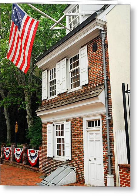 Dwell Greeting Cards - Betsy Ross House Greeting Card by James Kirkikis
