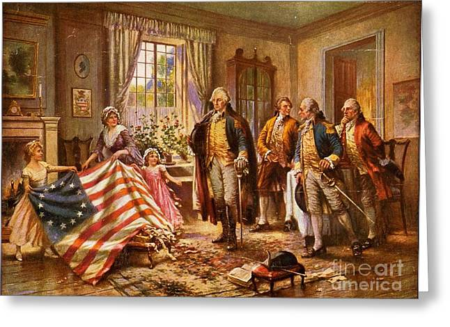 Betsy Greeting Cards - Betsy Ross Showing Flag to George Washington. Greeting Card by Pg Reproductions