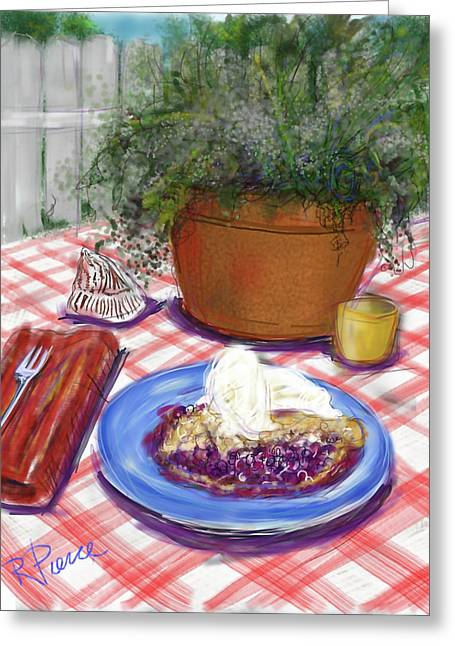 Betsy's Blueberry Pie Greeting Card by Russell Pierce