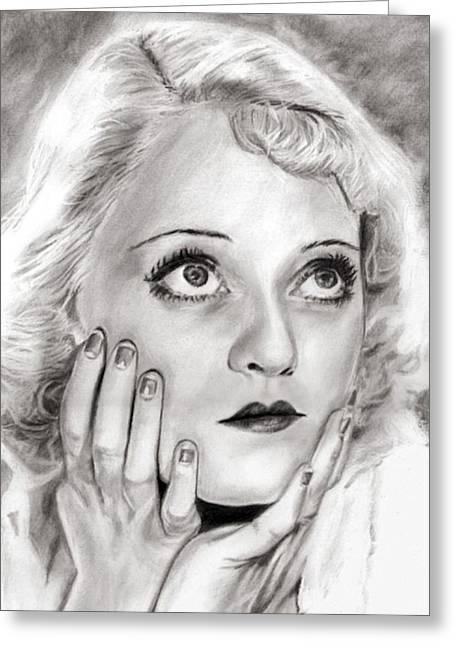 Gi Drawings Greeting Cards - Bette Davis Greeting Card by Chris Pastel