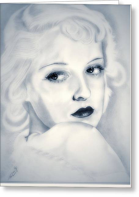 Classic Hollywood Drawings Greeting Cards - Bette Davis Greeting Card by Fred Larucci