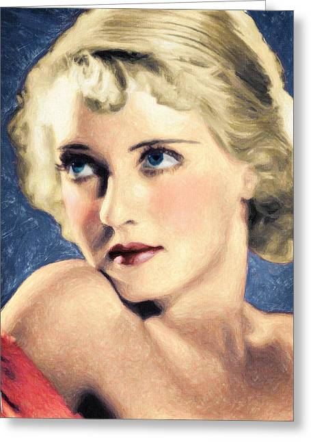 40s Paintings Greeting Cards - Bette Davis Greeting Card by Taylan Soyturk