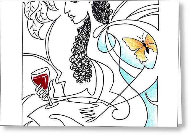 Syrah Drawings Greeting Cards - Bette Noir Greeting Card by Roy Guzman