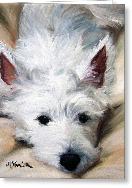 Westie Cards Greeting Cards - Better to Hear You With Greeting Card by Mary Sparrow