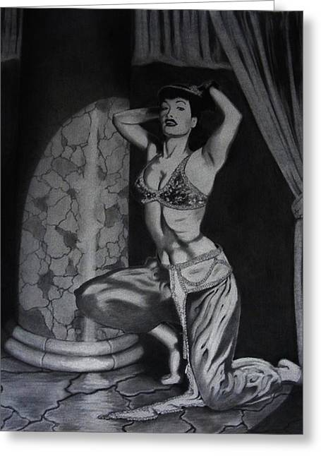 Harem Drawings Greeting Cards - Betty Page Tribute Greeting Card by Mark Shynk