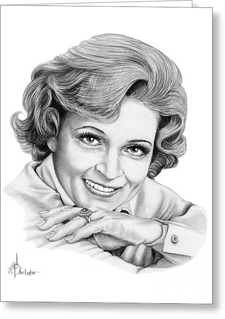 Betty White Greeting Card by Murphy Elliott