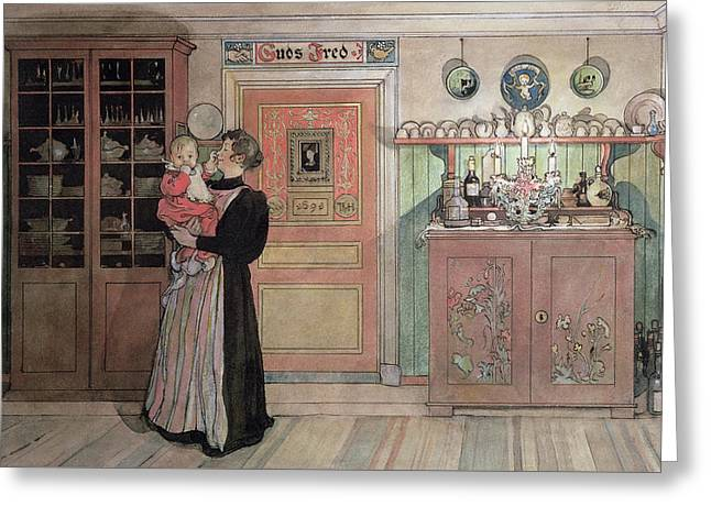 Cabinet Room Greeting Cards - Between Christmas and New Year Greeting Card by Carl Larsson