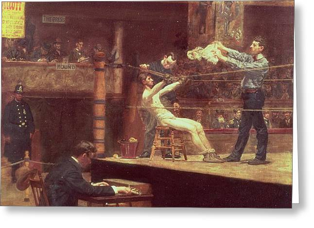 Between Rounds Greeting Card by Thomas Cowperthwait Eakins