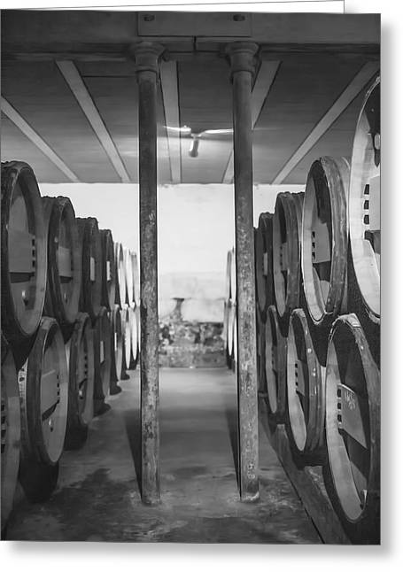 Making Wine Greeting Cards - Between the Barrels - Vertical Greeting Card by Nomad Art And  Design
