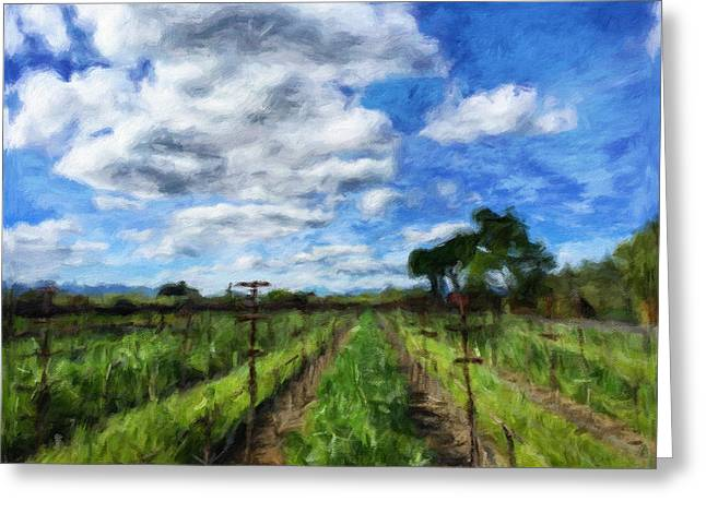 Harvest Art Greeting Cards - Between The Vine Greeting Card by Jonathan Nguyen