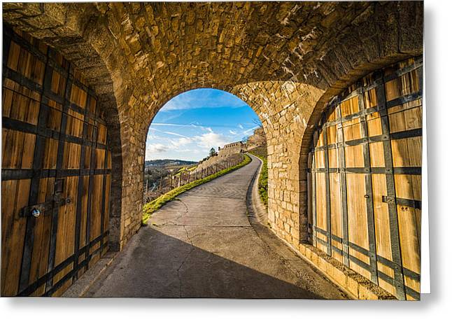 Between Two Doors Greeting Card by Motty Henoch