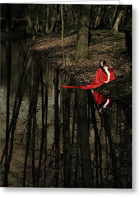 Red Dress Greeting Cards - Between Worlds Greeting Card by Wojciech Zwolinski