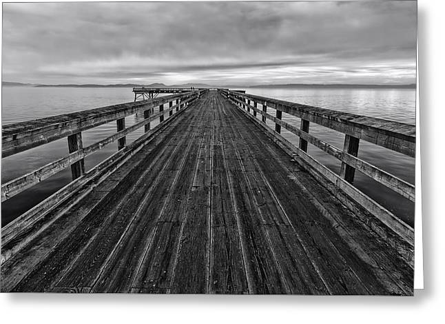 Sea And Sky Greeting Cards - Bevan Fishing Pier - Black and White Greeting Card by Mark Kiver