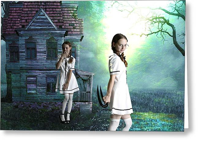 Beware The Evil Twin Greeting Card by Tammera Malicki-Wong