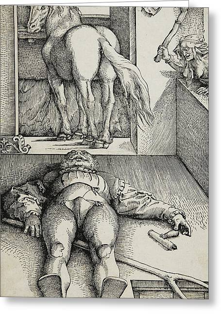 Bewitched Groom Greeting Card by Hans Baldung Grien