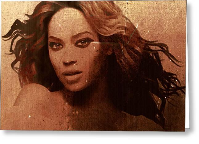 Beyonce Greeting Cards - Beyonce Simple by GBS Greeting Card by Anibal Diaz