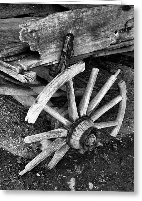 Wooden Wagons Greeting Cards - Beyond Repair in BW Greeting Card by Julie Dant