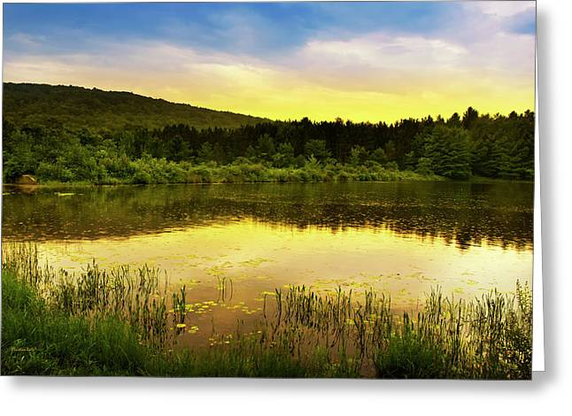 Light Aqua Greeting Cards - Beyond Sunset Landscape Greeting Card by Christina Rollo