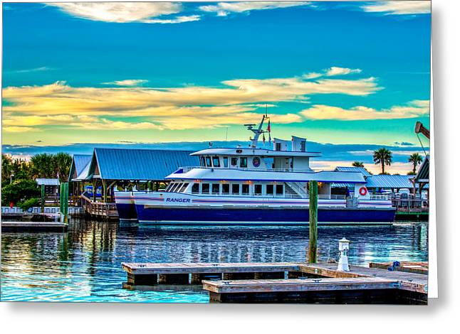 Docked Boats Greeting Cards - BHI Ferry Greeting Card by April Bryant