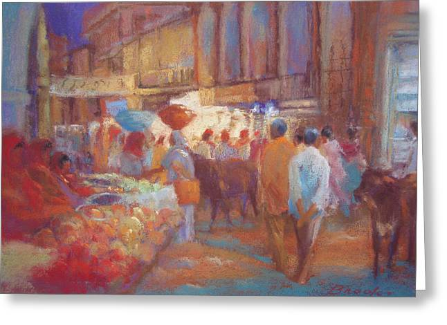 Night Scenes Pastels Greeting Cards - Bhuj Night Market Greeting Card by Beth Brooks