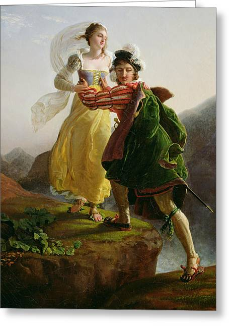 Man And Woman Greeting Cards - Bianca Cappello Fleeing with her lover Francesco de Medici Greeting Card by Louis Ducis
