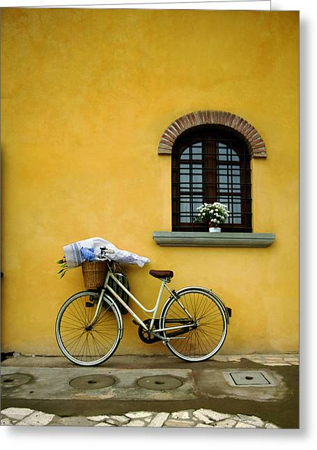 Bicycling Tuscany Greeting Cards - Bianchi Greeting Card by John Galbo