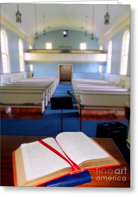 Bible Greeting Cards - Bible On Pulpit #1 Greeting Card by Ed Weidman