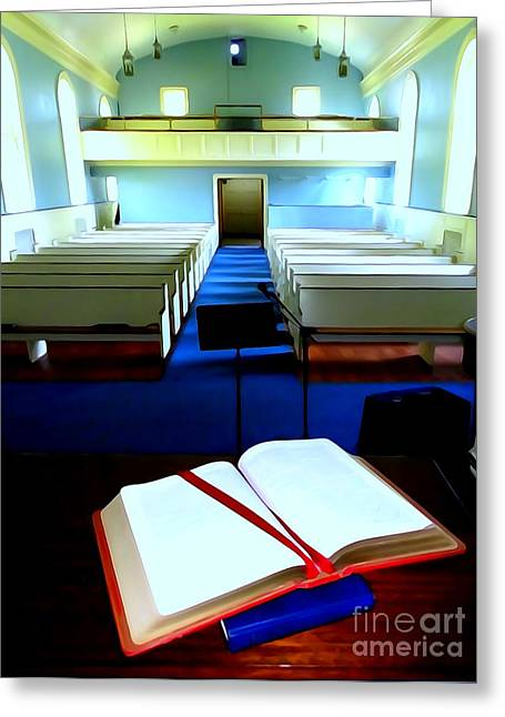 Bible Greeting Cards - Bible On Pulpit #2 Greeting Card by Ed Weidman