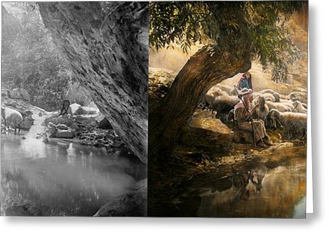 Testament Greeting Cards - Bible - The Lord is my shepherd - 1910 Side by Side Greeting Card by Mike Savad
