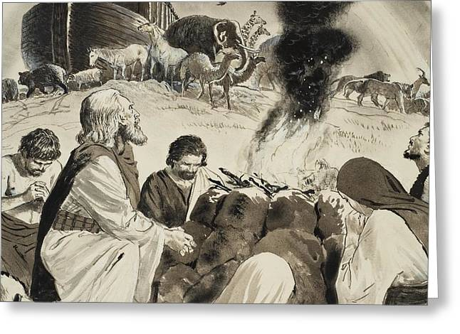 Biblical Scene Depicting Noah's Ark Greeting Card by Clive Uptton
