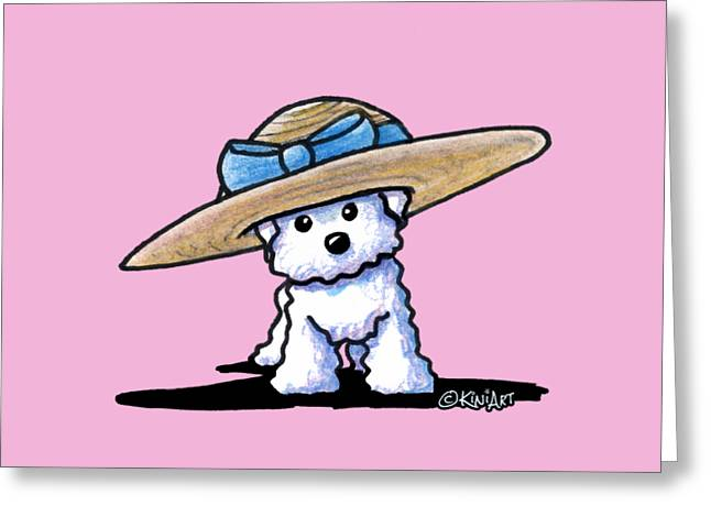 Kim Drawings Greeting Cards - Bichon In Hat Greeting Card by Kim Niles